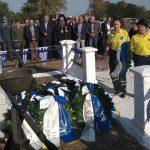 Κατάθεση στεφάνου από τη Διασωστική Ομάδα Πιερίας στο μνημείο του πεσόντος κατά την απελευθέρωση της πόλης, αειμνήστου Αντισυνταγματάρχη Δημητρίου Σβορώνου.
